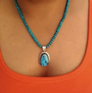 Sterling turquoise rondelle bead necklace